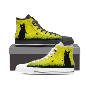 Express Black Cat Yellow Sky High Tops (Women's) - Hello Moa