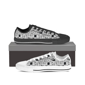 B&W Cartoon Cat Low Tops (Women's) - Hello Moa