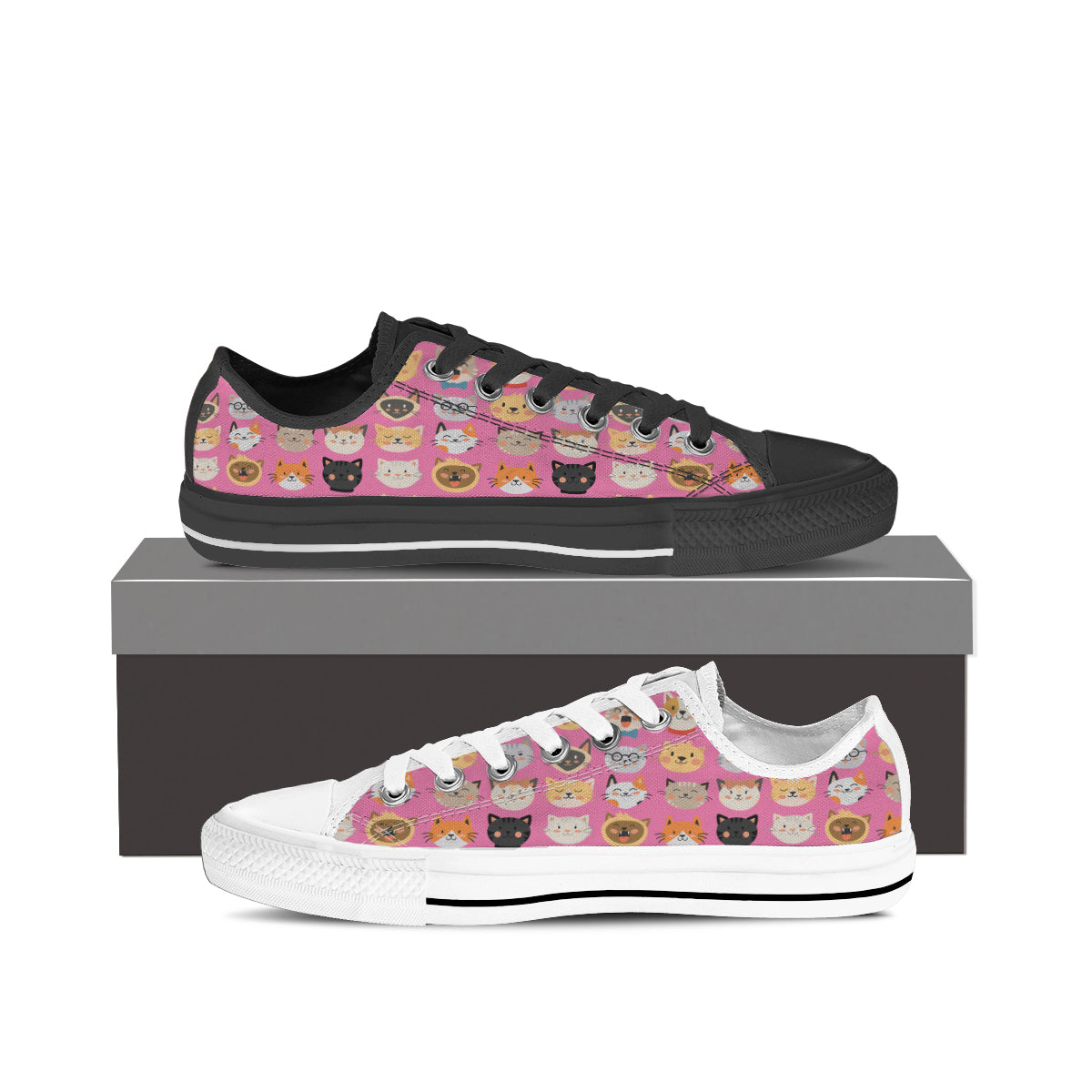 Pink Cat Faces Low Tops (Women's) - Hello Moa