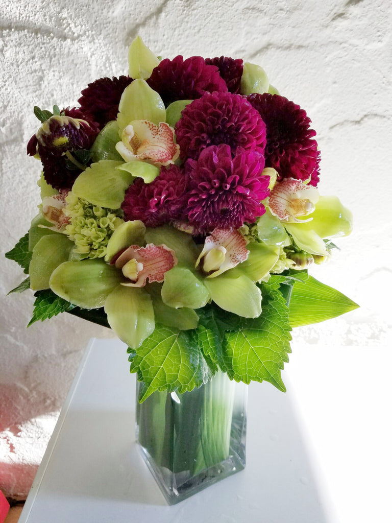 zz Red Heart Dahlias With Orchids