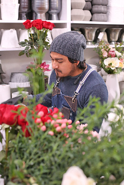 People at work with Flower Arangement