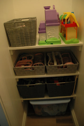 Toy storage in a smaller closet