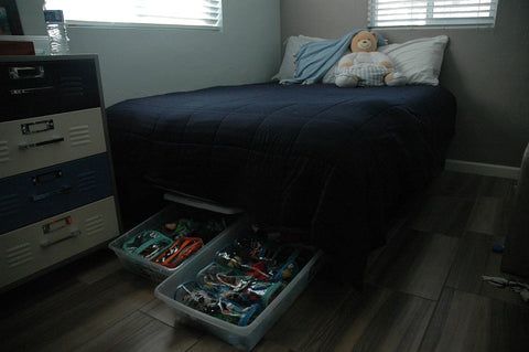 Toy storage under a bed