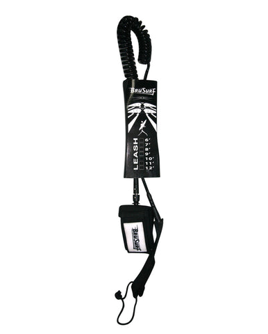 BruSurf 10' Coiled SUP Leash - Black