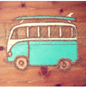 "VW Bus with Surfboard Artwork 23"" x 22"""