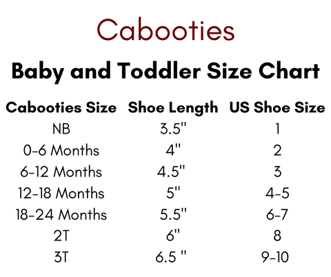 Cabooties Baby and Toddler Size Chart