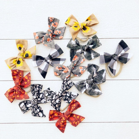Cabooties X Wanderlust and Mayhem Fall Handmade Hair Bows on Clips and Nylon Bands