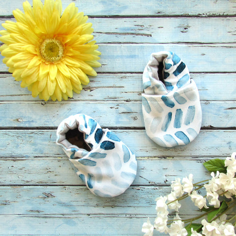 Blue and White Brush Stroke Baby Boy soft sole first walker shoes