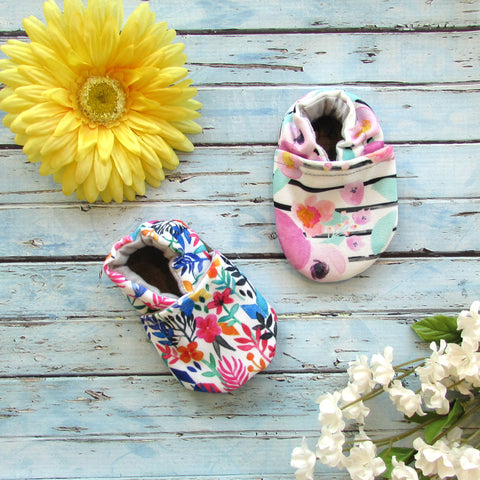 Spring Flowers and Floral Stripe Soft Sole Baby Girls Shoes