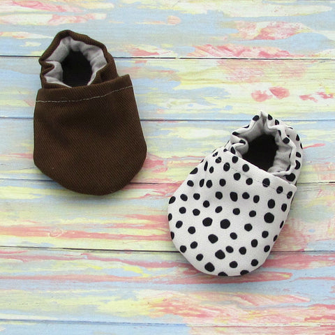Brown Brushed Denim and Pebble Dot Best Shoes For First Steps