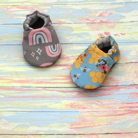 Baby and Toddler Girl Soft Sole Shoes with Rainbows, Bees, and Flowers
