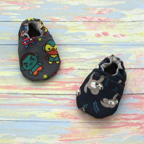 Boy Shoes with Grey Super Heroes and Navy Blue Sloths