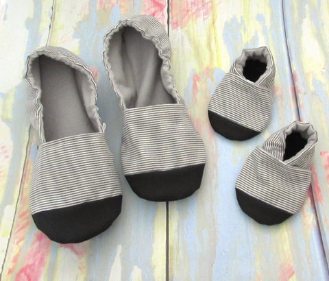 Soft Sole Vegan Baby Shoes that don't fall off and matching women's slippers