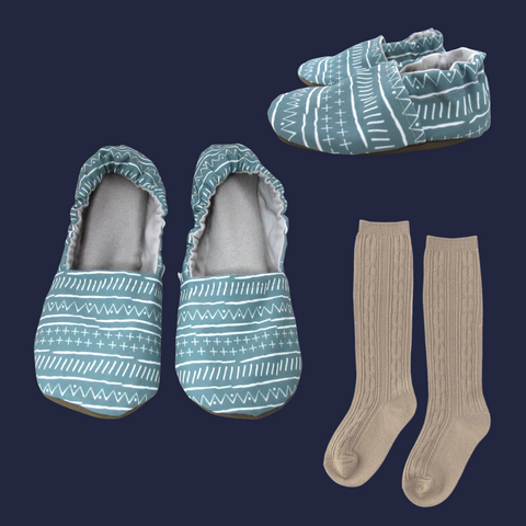Mudcloth Mommy and Me Shoes and Slippers Set with Oat Little Stocking Co Cable Knit Knee High Socks for Babies and Toddlers