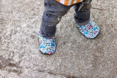 Vehicles Handmade Vegan Eco Canvas Cabooties Baby Shoes That Don't Fall Off