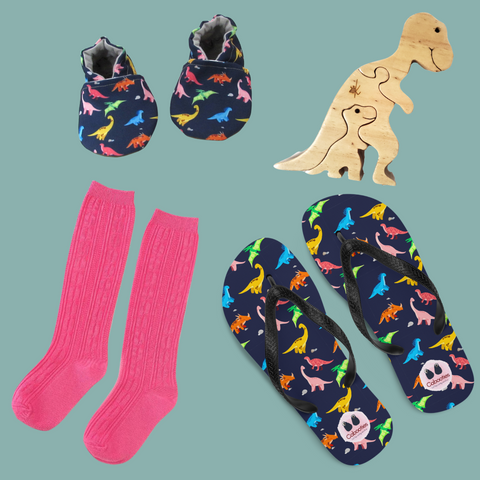 Rainbow Dino Baby Shoes Mommy Slippers Kaspi Land Puzzle and Little Stocking Co Hot Pink Knee Socks