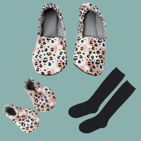 Rose Gold Cheetah Mommy and Me Slippers and Baby Shoe Set with Black Little Stocking Co Cable Knit Knee High Socks