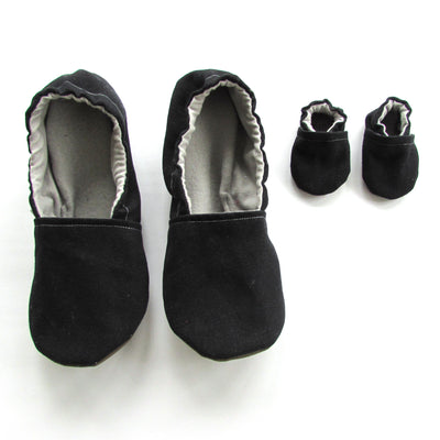 Black Brushed Denim Women's Slippers - Mommy and Me - Mothers Day Gift