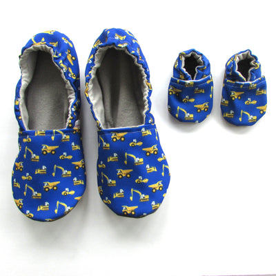 Yellow Construction Trucks on Blue Canvas Women's Slippers - Mommy and Me