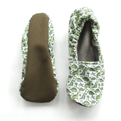 Green Dino Eco-Canvas Adult Slippers - Mommy and Me - Baby Shower Gift