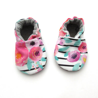 Floral Stripe Eco Canvas Slipper Set - Mommy and Me - Baby Shower Gift