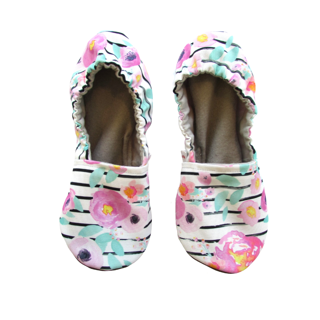 Floral Stripe Women's Slippers on White Eco Canvas - Mommy and Me