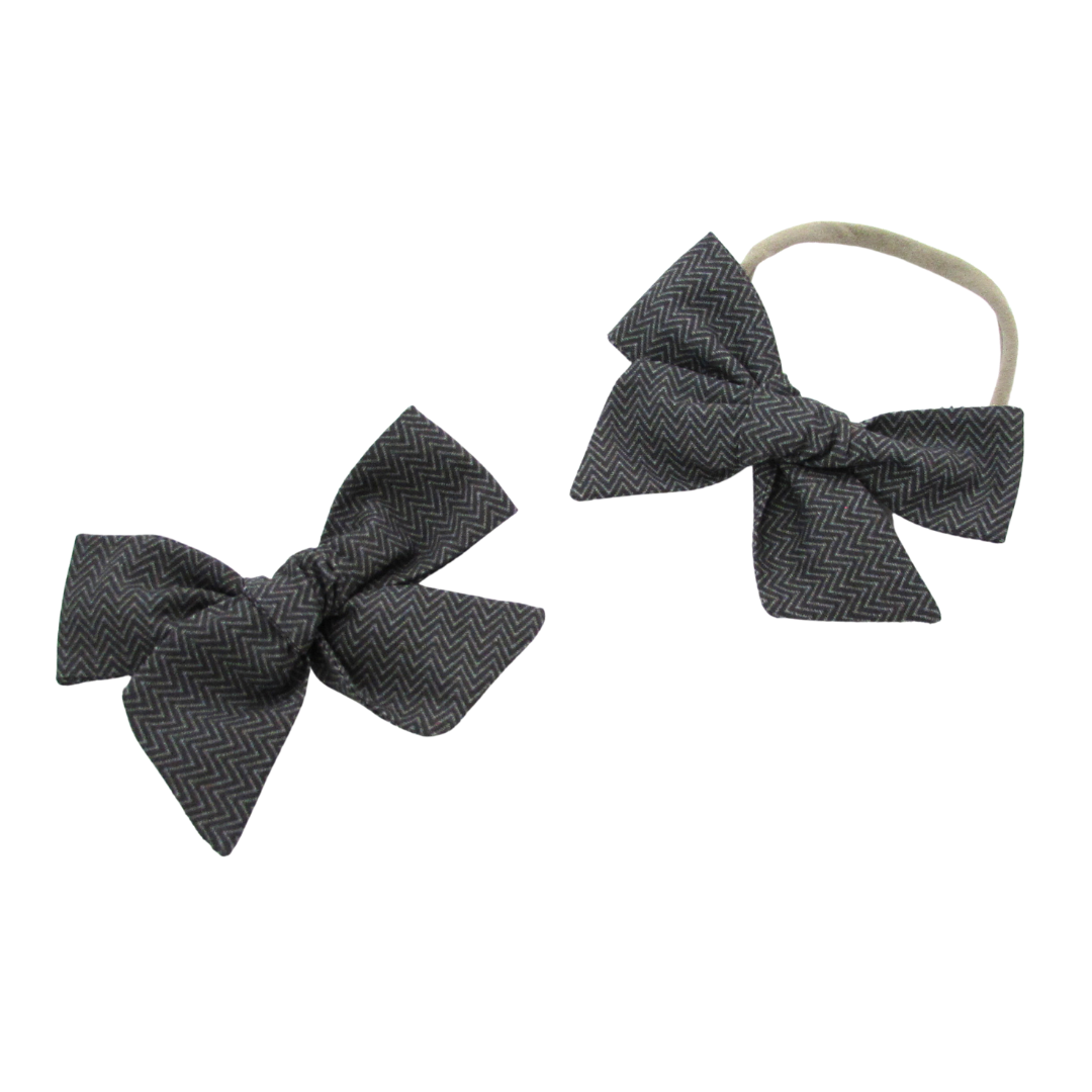 Grey Herringbone Hair Bow with Nylon Band or Reversible Alligator Clip