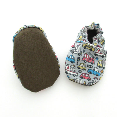 Police cars, fire trucks, ambulances, taxis, tow trucks and more vehicles on blue-grey Eco-Canvas Vegan Baby and Toddler Shoes