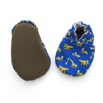 Construction Trucks on Blue Eco-Canvas Vegan Baby and Toddler Shoes