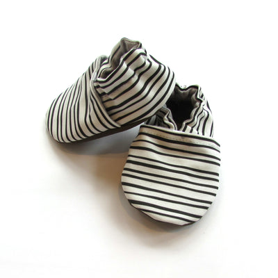 Black and White Stripe Eco Canvas Handmade Machine Washable Baby Shoes