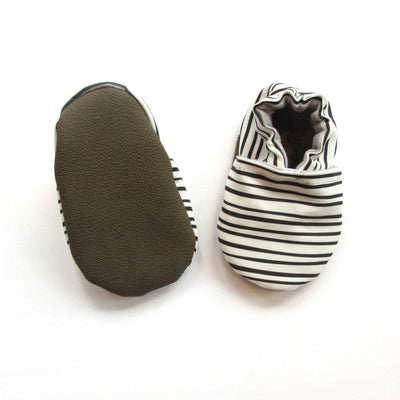 Black and White Stripe handmade canvas vegan monochrome minimalist baby shoes rubber soles