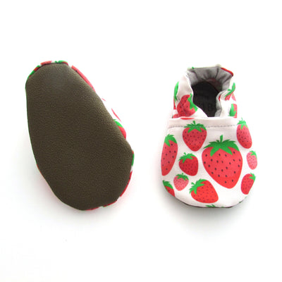 Red Strawberries on Blush Pink Eco Vegan Soft Sole Machine Washable Baby Shoes with Rubber Soles