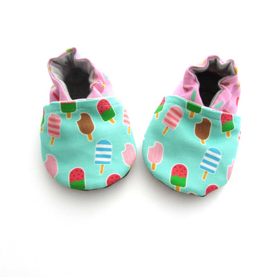 Ice Cream Treat Baby Girl Vegan Soft Sole Shoes with Rubber Soles