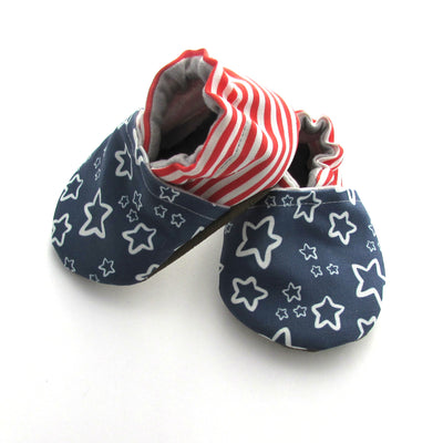 Patriotic Stars and Stripes Machine Washable Vegan Baby Shoes for Fourth of July and Memorial Day