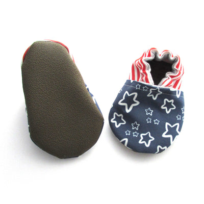 Patriotic Stars and Stripes Machine Washable Vegan Baby Shoes for Fourth of July and Memorial Day with rubber soles