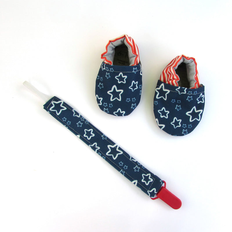 Red and White Stripe Pacifier Clip