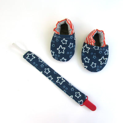 Blue Stars Pacifier Clip and matching stars and stripes cabooties baby shoes