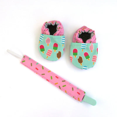 Pink Sprinkles Pacifier Clip with matching cabootises baby shoes