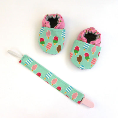 Ice Cream Treat Pacifier Clip and matching cabooties baby shoes