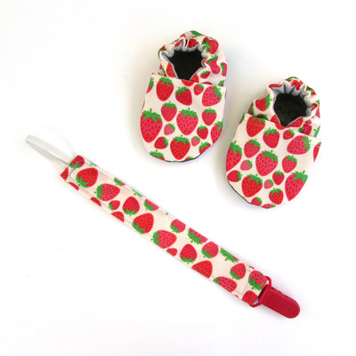 Strawberries Pacifier Clip and matching cabooties baby shoes