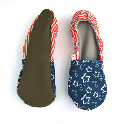 Stars and Stripes Eco Canvas Women's Slippers Soft Rubber Soles