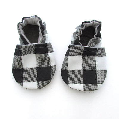 Black and White Buffalo Check Eco-Canvas Baby Shoes