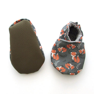 Foxes Eco Canvas Cabooties Baby Shoes with rubber soles