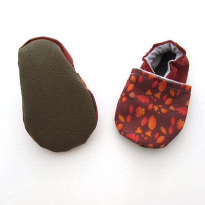 Autumn Leaves Cabooties Baby and Toddler Soft Sole Shoes with rubber soles