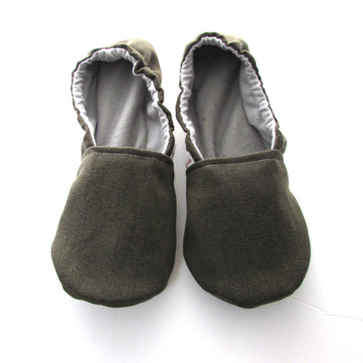 Olive Brushed Denim Women's Slippers