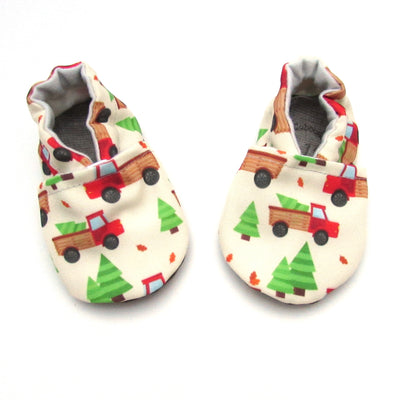 Red Trucks Eco-CanvasChristmas Soft Sole Washable Baby Shoes