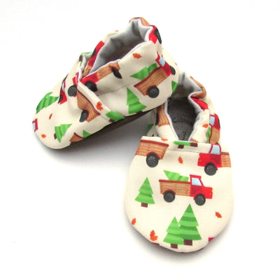 Red Trucks Eco-CanvasChristmas Soft Sole Washable Baby New Walker Shoes