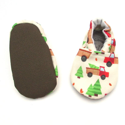 Red Trucks Eco-CanvasChristmas Soft Sole Washable Baby New Walker Shoes Rubber Soles