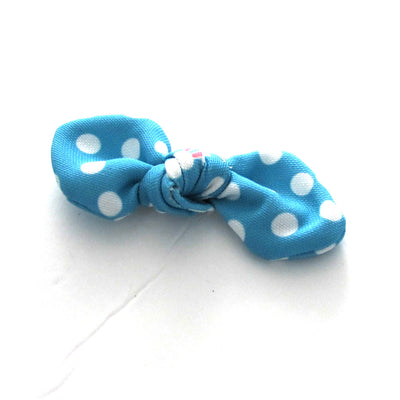 Blue Bunny Polka Dot Hand Tied Fabric Hair Bow on alligator clip for toddlers