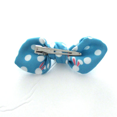 Blue Bunny Polka Dot Hand Tied Fabric Hair Bow on alligator clip for girls